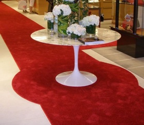 2-color aisle runner with cut out area