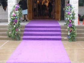 purple wedding aisle runner