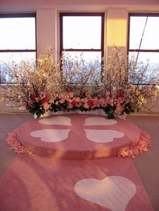Wedding aisle runner with hearts by Event Rugs