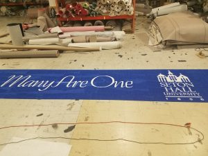 Seton Hall college logo event rug