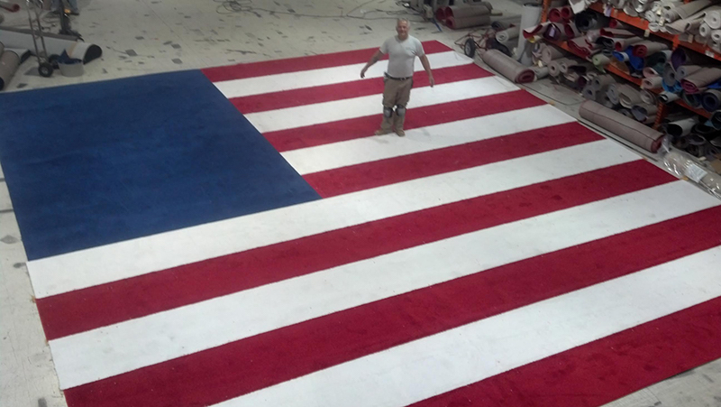 US Flag custom rug by Event Rugs